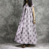Women Casual Plus Size Pleats Cotton Linen Maxi Dress Dot Printing Grey