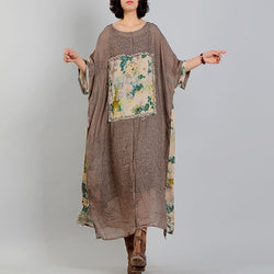 Casual Loose Irregular Print Splice Plus Size Cotton Linen Maxi Dress