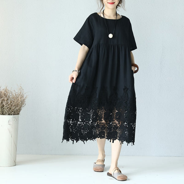 Women Causal Loose Flax Splice Lace Maxi Summer Dress Pleats High Waist Black