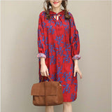 Woman Casual Loose Cotton Linen Plus Size Retro Shirt Dress