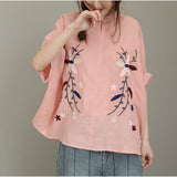 Woman Cotton Linen Embroidery Plus Size Short Sleeve Turndown Collar Shirt Blouse