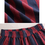Women Cotton Linen Two Pieces Suit Vertical Stripe Blouse Cropped Pants Red