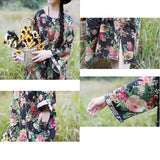 Linen Long Sleeve Flower Print Loose Dress