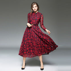 Women Slim fit Hollow Out Long Sleeve Dress