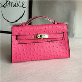 Women Genuine Leather Ostrich Pattern Handbags