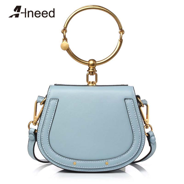 Women Genuine Leather Ring Round Saddle Handbags