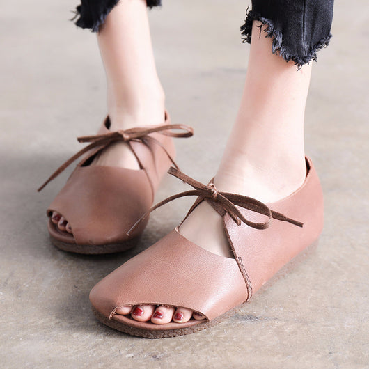 Women Spring Summer Peep-Toe Shoes Flat Heel Lace up Retro Sandals
