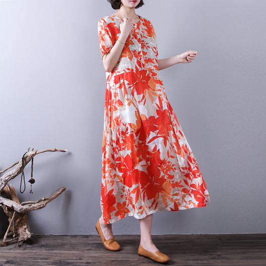 Women Casual Floral Print Ramie Loose Skirt Pleated Holiday Dress