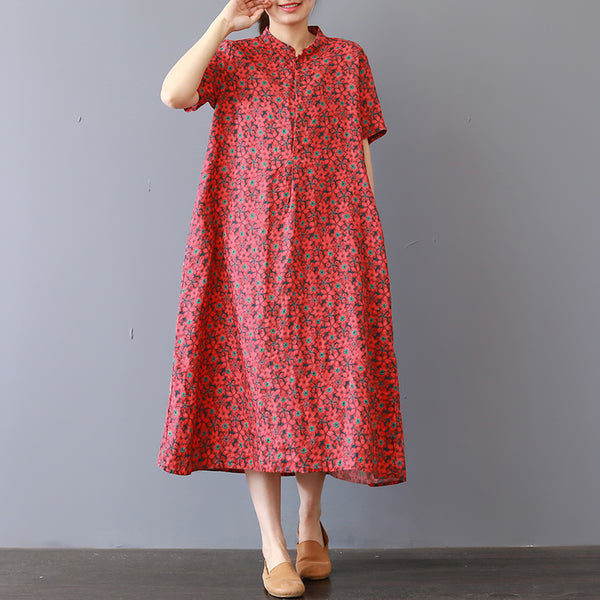 Women Casual Loose Cotton Linen Floral Printing Ethnic Dress Stand Collar