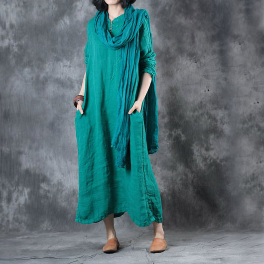 Woman Casual Loose Stand Collar Flax Embroidery Pleats Maxi Dress