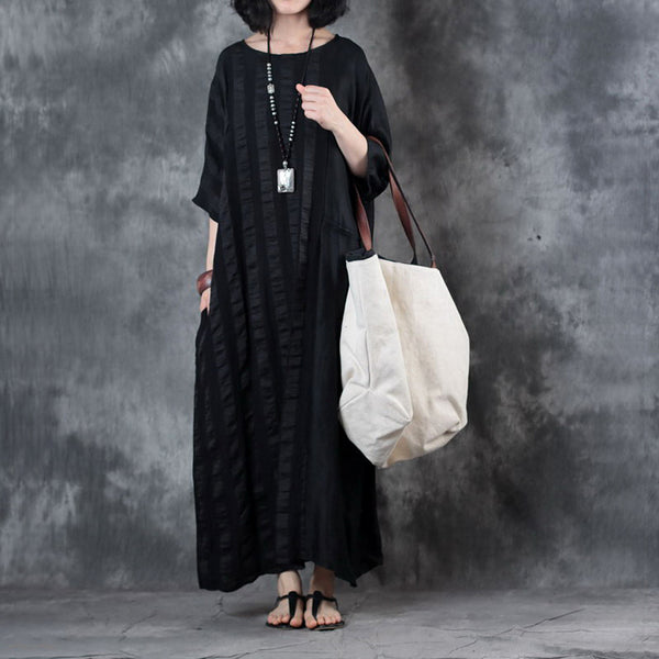 Women Retro Flax Bat Sleeve Splice Maxi Dress Round Neck Splice Semitransparent