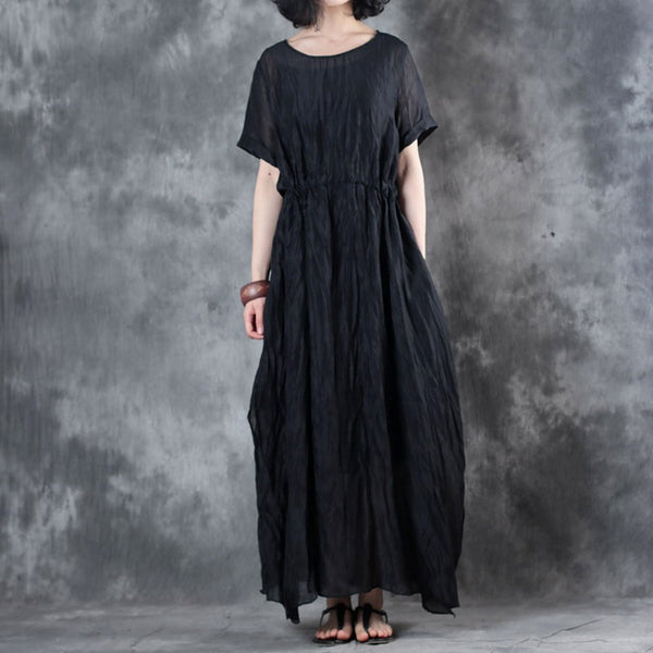Woman Retro Silk Linen Short Sleeve Natual Drapes Irregular Bottom Dress