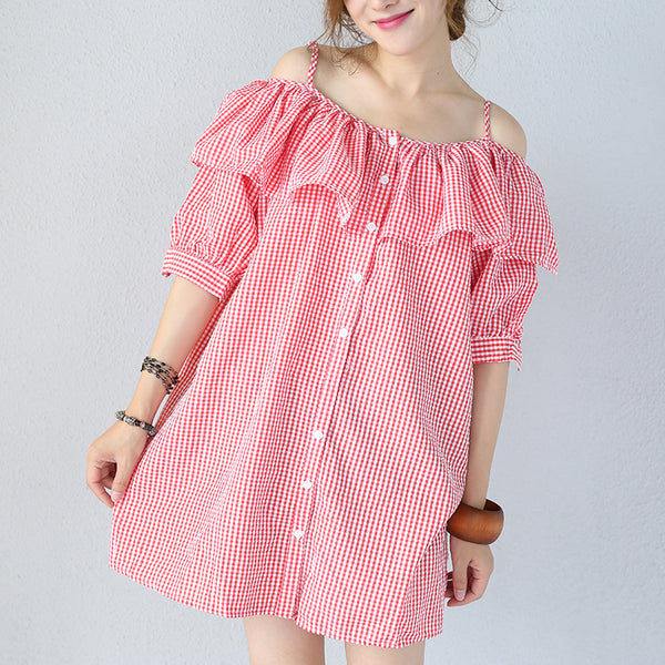 Women Casual Loose Cotton Off Shoulder Dress Falbala Shirt Plaid Slip Dress