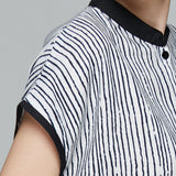 Women Cotton Linen Stripe Pullover Stand collar Print Pocket Dress