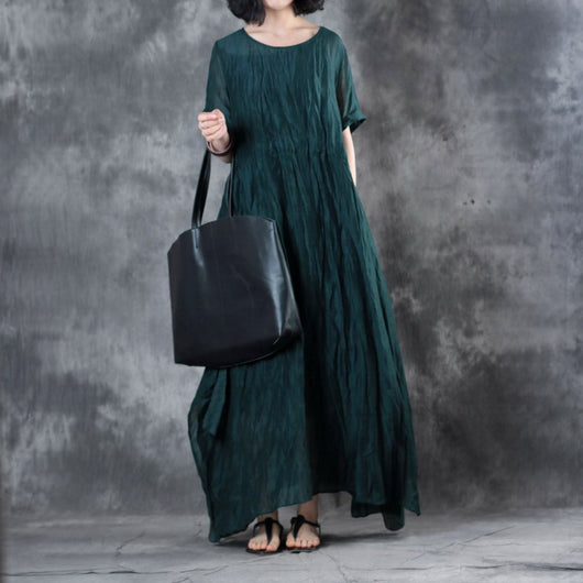 Woman Retro Silk Linen Short Sleeve Natual Drapes Side Slit Green Dress