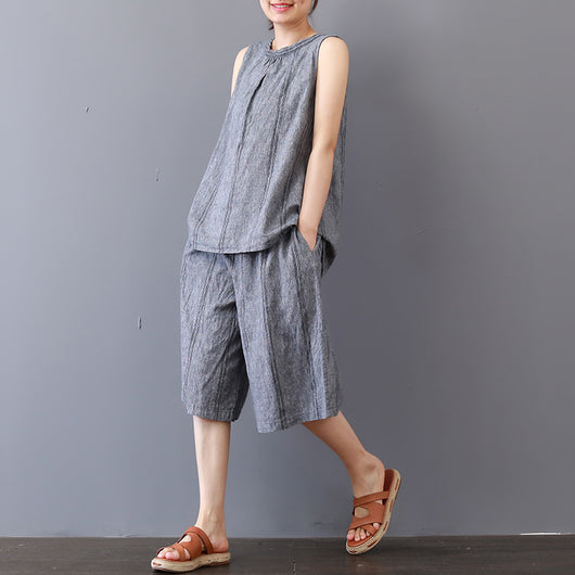 Women Casual Loose Cotton Stripe Suit Lace Sleeveless Tops Loose Pants