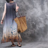 Woman Casual Linen Print Gradual Sleeveless Dress