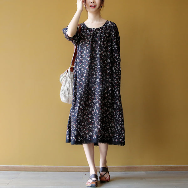 Women Cotton Casual Loose Floral Print Pleats Dress Lace Decorated
