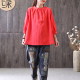 Women Cotton Linen Lantern Sleeve Gathers Blouse Embroidery Shirt