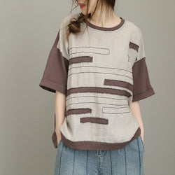 Woman Casual Loose Linen Splice Round Collar Half Sleeve T-shirt Blouse