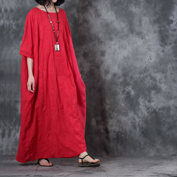 Women Casual Loose Bat Sleeve Splice Maxi Dress Side Pockets