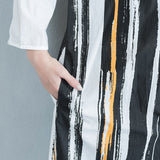 Women Cotton Single Breasted Long Shirt Vertical stripe Blouse Polo Coat White