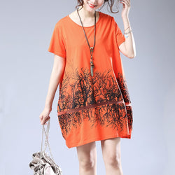 Women Cotton Loose Tree Print Summer Skirt Dress Round Collar Short Sleeve