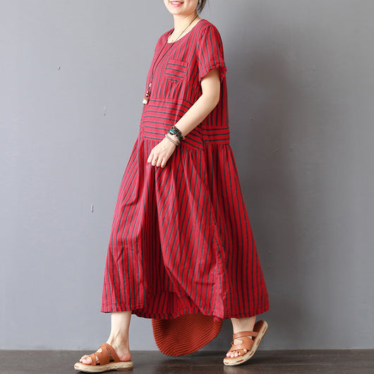 Women Casual Loose Stripes Cotton Linen Short Sleeve Splice Dress