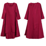 Women Cotton Linen Irregular Splice Button Dress Long Sleeve Maxi Dress Red