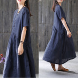 Women Casual Loose A Line Flax Dress Button Pleats Pullover Navy