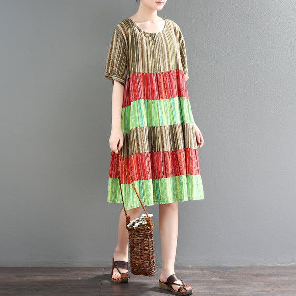 Women Casual Cotton Linen A Line Contrast Stripes Dress Splice Pullover