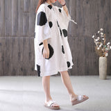 Women Plus Size Cotton Dress Dot Printing Bat Sleeve String Polo Shirt