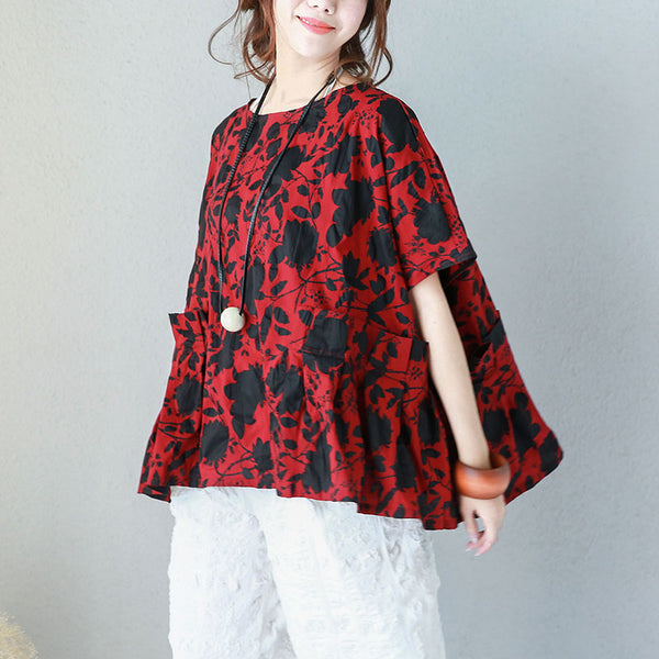 Women Cotton Casual Loose Raglan Sleeve Blouse Pleated Floral Printing Shirt Red