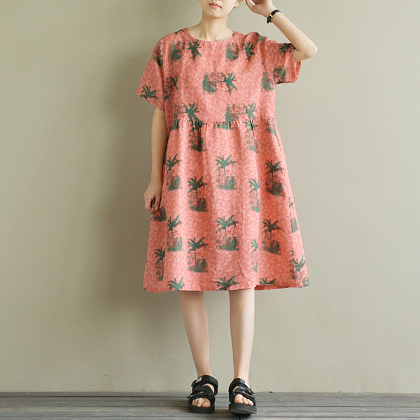 Women Loose Cotton Linen Short Sleeve Tree Print Summer Dress