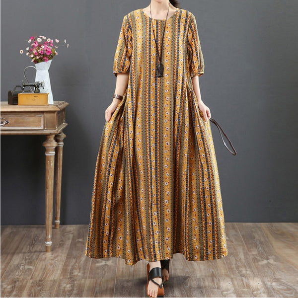 Women Casual Cotton Linen Floral Print Dress Pleated Maxi Dress Yellow
