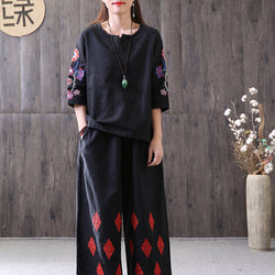 Women Casual Loose Cotton Linen Half Sleeve Embroidery Shirt Pleats Blouse