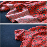 Women Casual Loose Cotton Linen Floral Printing Exotic Dress Stand Collar