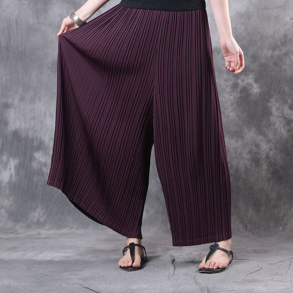 Women Casual Retro Accordion Loose Pants Ninth Pants