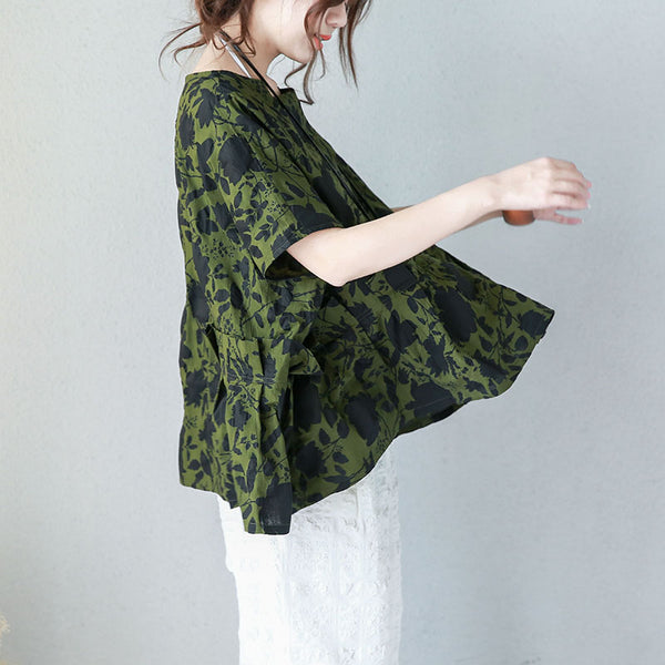 Women Cotton Casual Loose Raglan Sleeve Blouse Pleated Floral Printing Shirt Green