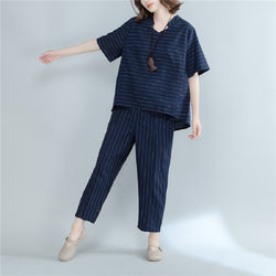 Cotton Linen Short Sleeve Stripe Loose Suit Shirt & Pant