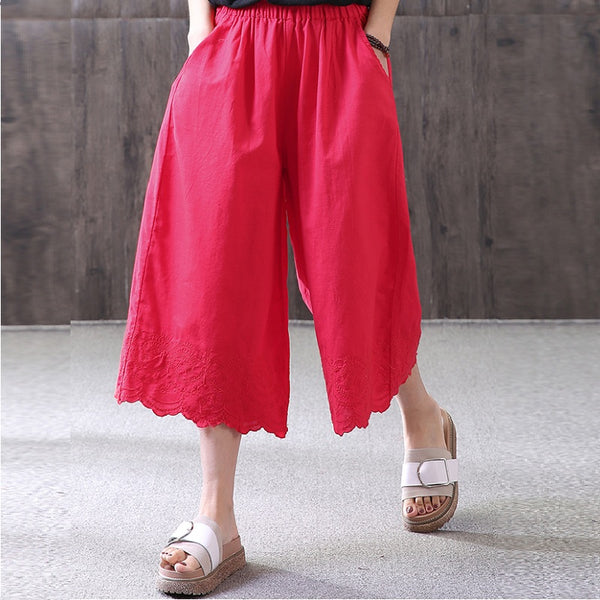 Women Casual Loose Pants Embroidery Pockets Cropped Trousers Red