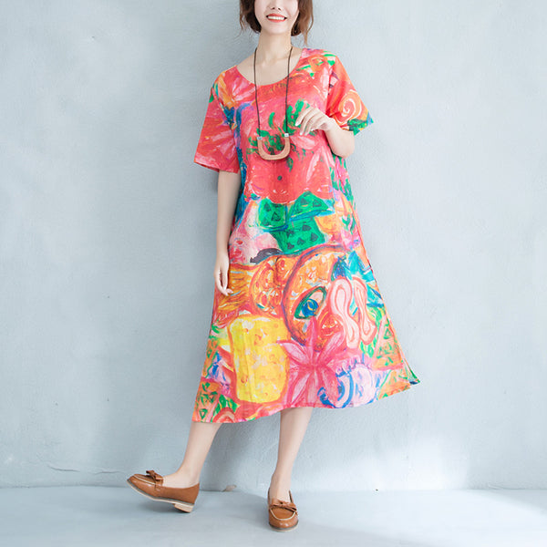 Women Casual Ramie Round Neck Short Sleeve Dress Hand-Drawing Printing Dress