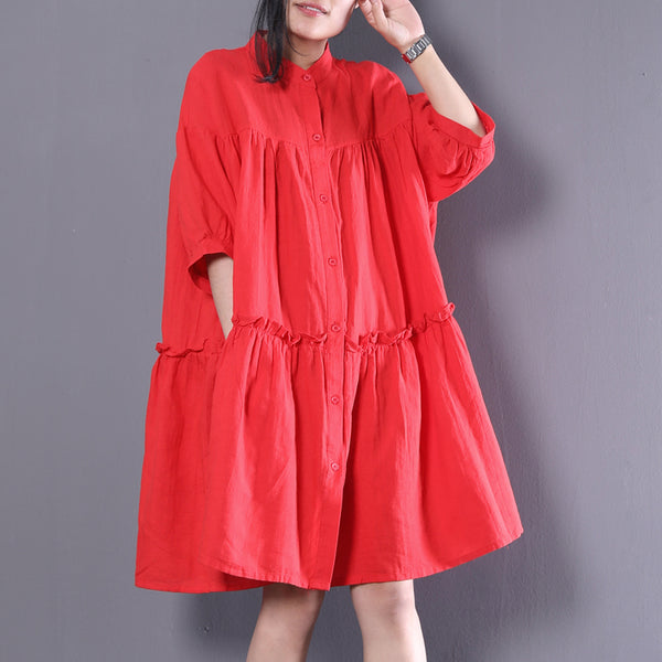 Women Linen Stand Collar Polo Dress Pleated Ruffled Button Long Shirt Red