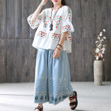 Women Cotton Linen Mandarin Sleeve Shirt Embroidery Ruffle Blouse White