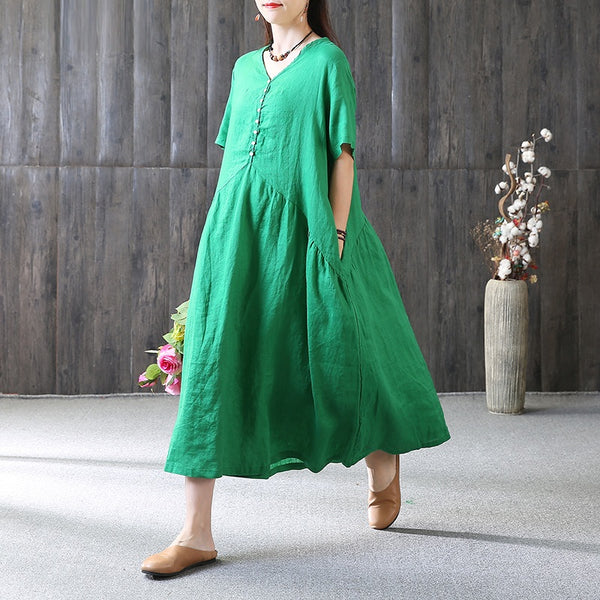 Women Casual Loose A Line Flax Dress Button Pleats Pullover Green