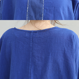 Women Casual Loose Three Quarter Sleeve Round Neck Splice Shirt Blouse