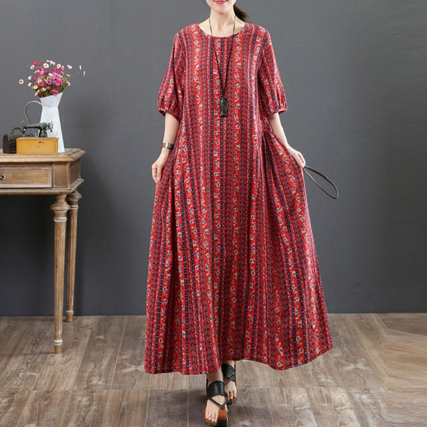 Women Casual Cotton Linen Floral Print Dress Pleated Maxi Dress Red