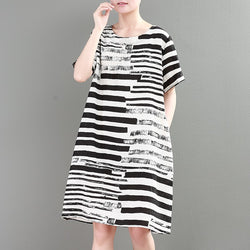Women Loose Casual Flax Stripe Round Neck Short Sleeve Summer Dress