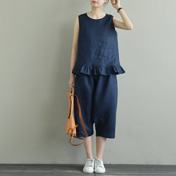 Women Casual Linen Loose Art Falbala Vest and Harem Pants Pockets