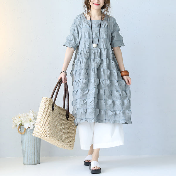 Women Casual Loose Cotton Short Sleeve 3D Bubble Dress Salt Shrinking